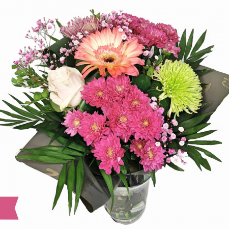 Buchet cu crizantema, gerbera, trandafir și gipsofila [1]