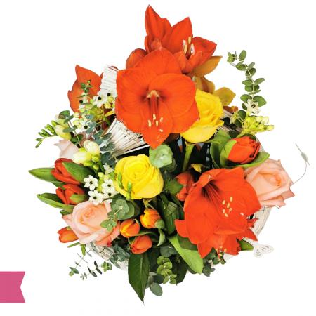 Aranjament cu amarilis, trandafiri, lalele, ornitogalum,aranjamente, florarie online Roman [1]