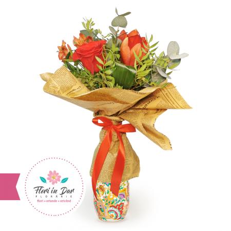 Florarie online Roman Buchet floral cu amaralis,eucalipt,trandafir,alstromeria [0]