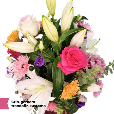 Aranjamente florale Roman cu Crin, gerbera, trandafir, eustoma [1]