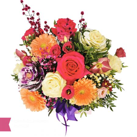 Aranjament floral cu trandafir, gerbera, eustoma, heleborus, brassica, gipsofila,aranjamente florale [1]