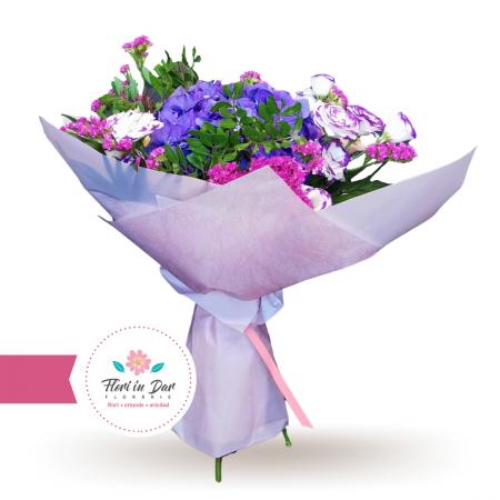 Buchet cu hortensie eustoma trandafiri florarie cu livrare Roman [0]