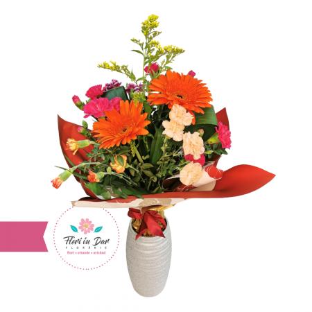 Buchet de flori cu solidago, dianthus, gerbera florarie cu livrare Roman [1]
