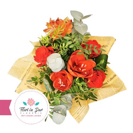 Florarie online Roman Buchet floral cu amaralis,eucalipt,trandafir,alstromeria [1]