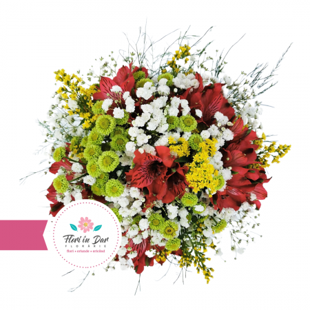 Buchet mireasa cu gipsofila solidago alstroemeria crizantema [1]