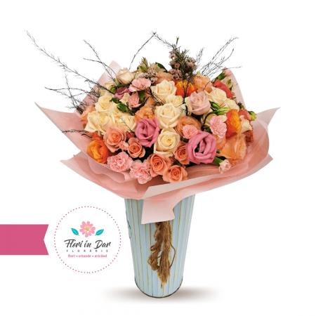 Buchet mix trandafiri,wax flower,eustoma,miniroze [0]