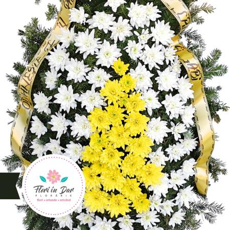 Coroana funerara din flori naturale crizantema florarie Roman [1]