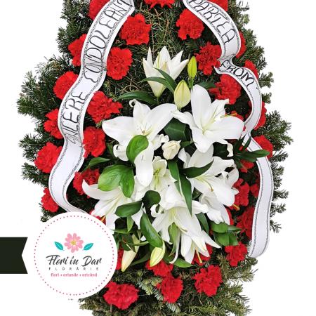 Coroana funerara garoafe si crini florarie Roman [1]