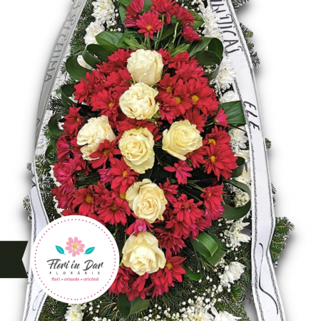 Coroana cu crizantema, gipsofila și trandafir Florarie Roman [1]