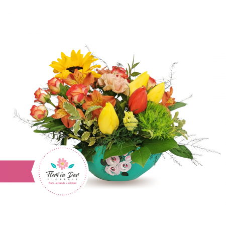 Aranjament cu floarea soarelui, dianthus, lalele, tros livrare flori Roman [0]