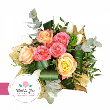 "Buchet mixt ""Ma gandesc la tine"" cu trandafiri, lalele, eucalipt [1]"