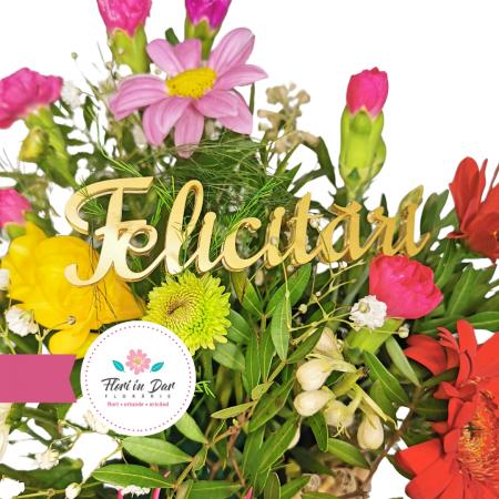 Mesaj Felicitari text 3D culoare aurie florarie Roman [1]