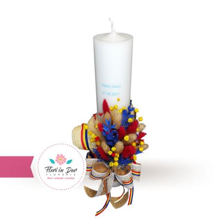 Lumanare botez stil rustic cu flori uscate [1]