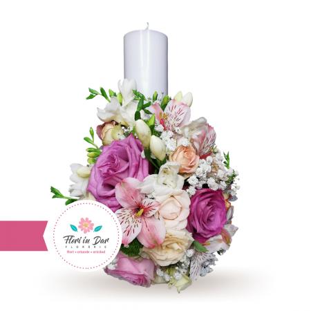 Lumanari cununie trandafiri frezie florarie online Roman [0]