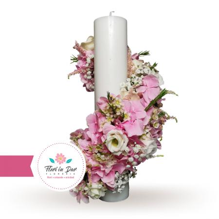 Lumanari cununie scurte cu hortensie eustoma astilbe wax flowers gipsofila [0]
