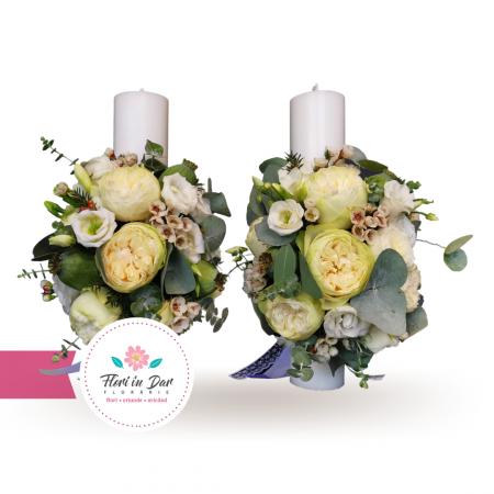 Lumanari cununie cu trandafiri eustoma wax flowers eucalipt [1]