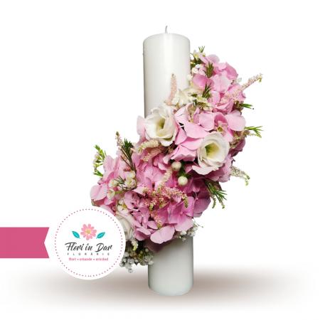 Lumanari cununie scurte cu hortensie eustoma astilbe wax flowers gipsofila [1]