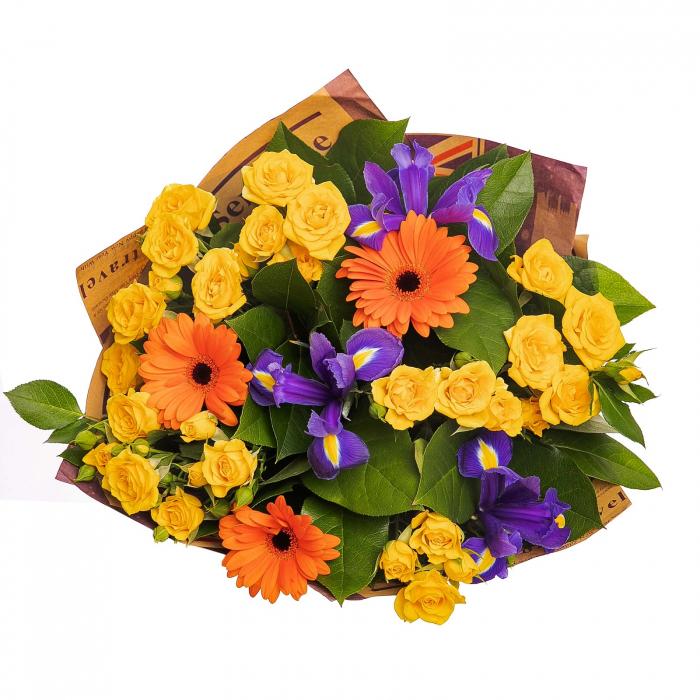 Buchet cu iris, gerbera si minirosa [1]