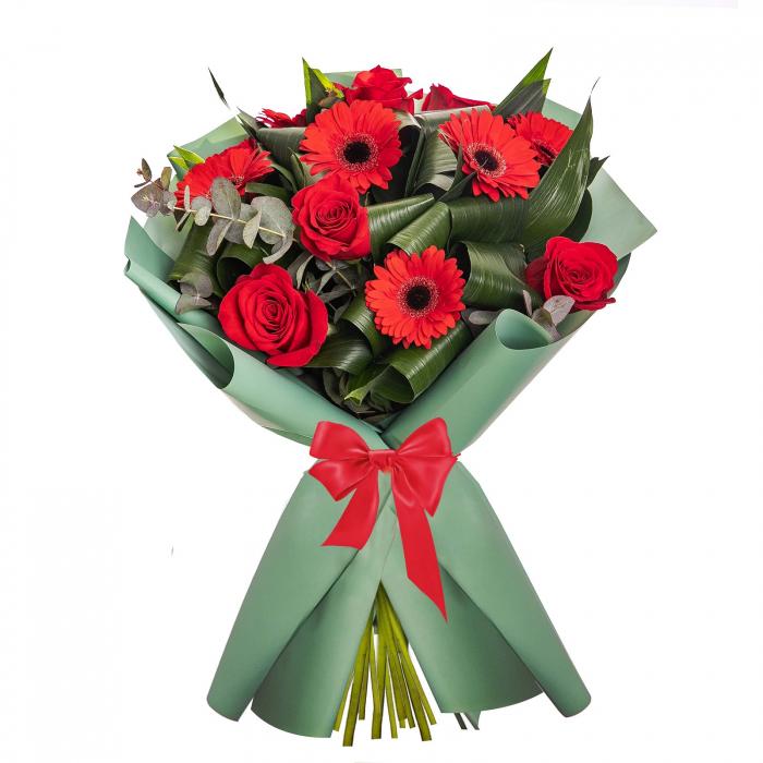 Buchet cu trandafiri si gerbera [0]