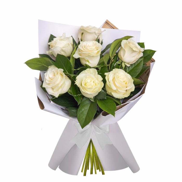 Buchet de flori cu 7 trandafiri albi [0]