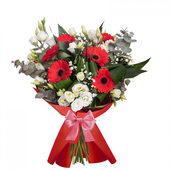 Buchet de flori cu gerbera si lisianthus [0]