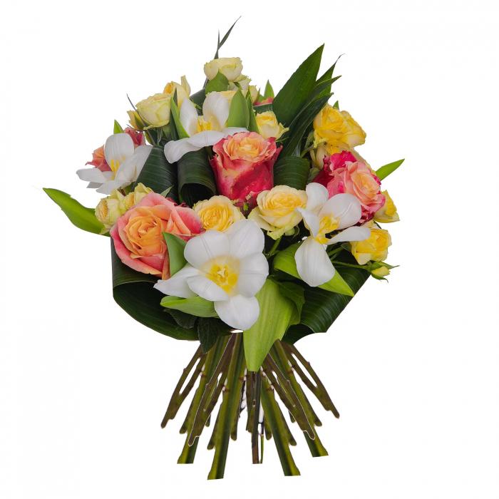 Buchet de flori cu lalele si trandafiri [0]