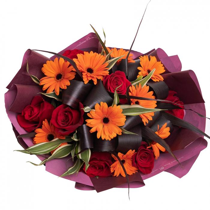 Buchet flori trandafiri si gerbera [1]