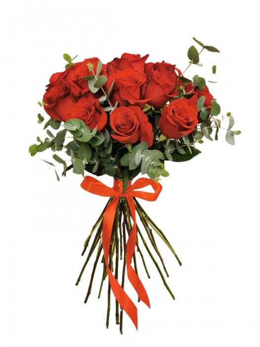 Buchet de trandafiri rosii si eucalipt [0]
