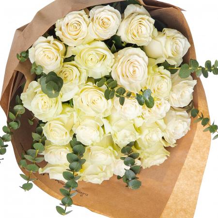 Buchet 25 trandafiri albi [1]