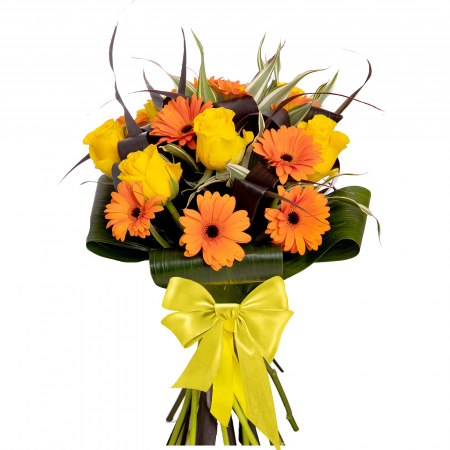 Buchet de flori cu gerbera si trandafiri [0]