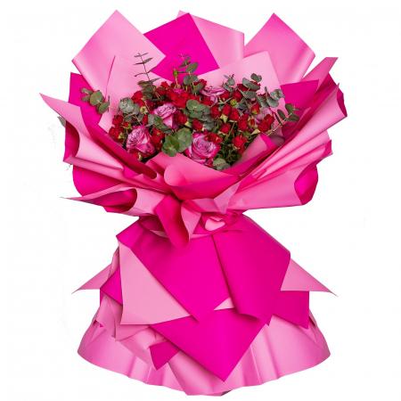 Buchet de flori minirosa si trandafiri [0]