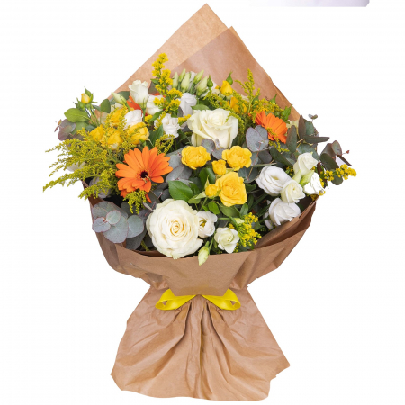 Buchet trandafiri albi si minirosa [0]