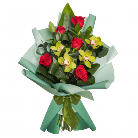 Buchet trandafiri si cymbidium [0]