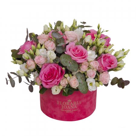 Cutie cu trandafiri roz si eustoma [0]