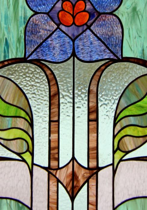 Geam Decorativ Usa Interioara Model BLUE FLOWER ART 2