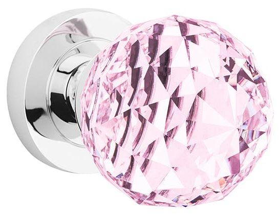 Buton mobil cu rozetă metalică-Cristal Roz [0]