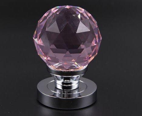 Buton mobil cu rozetă metalică-Cristal Roz [1]