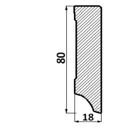 Plintă din MDF cubică, 80 mm, albă 0