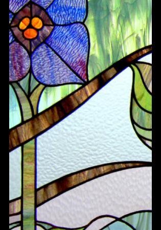 Geam Decorativ Usa Interioara Model BLUE FLOWER ART1