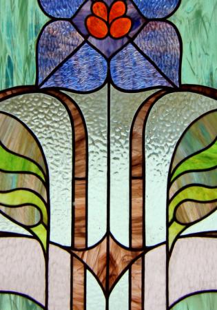 Geam Decorativ Usa Interioara Model BLUE FLOWER ART2