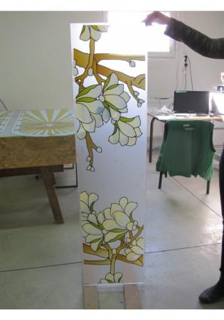 Geam Decorativ Usa Interioara Model MAGNOLIA OLIV2
