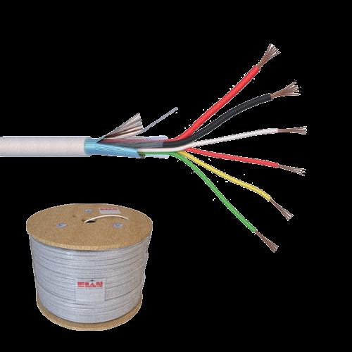 Cablu de alarma 6 fire ecranate + alimentare 2x0.75, cupru integral, 500m 6CUEF+2x0.75-T [0]
