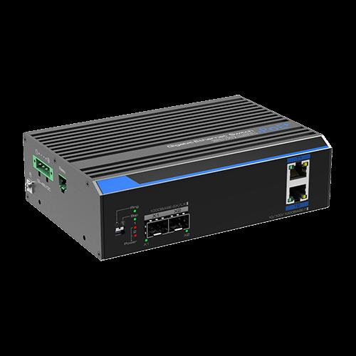 Switch industrial 2 porturi Gigabit HPoE, 2 porturi uplink SFP/RJ45 - UTEPO UTP7202GE-POE [0]