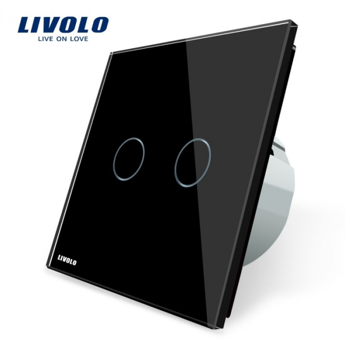 Intrerupator cu touch dublu, negru - cu revenire - Livolo VL-C702H-12 [0]
