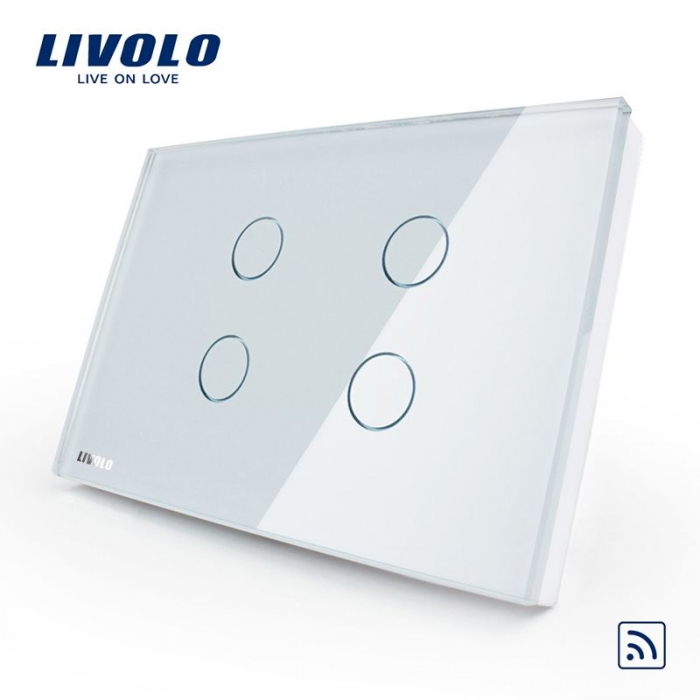 Intrerupator cvadruplu cu touch, modular italian, alb - wireless - Livolo VL-C304R-81 [0]