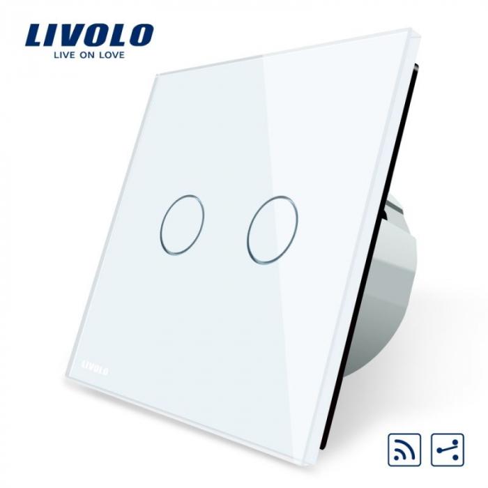 Intrerupator dublu cu touch, alb - cap scara / cruce- wireless - Livolo VL-C702SR-11 [0]