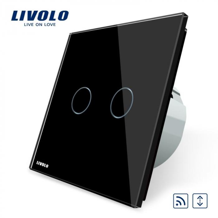 Intrerupator dublu cu touch, alb - draperie  wireless - Livolo VL-C702WR-11 [0]