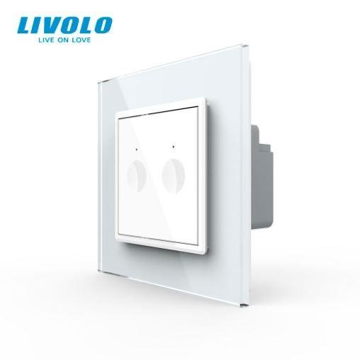 Intrerupator dublu cu touch, alb, rama sticla - WiFi ZigBee - Livolo 722600211SR [0]