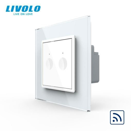 Intrerupator dublu cu touch, alb, rama sticla  - wireless RF - Livolo 722100211SR [0]