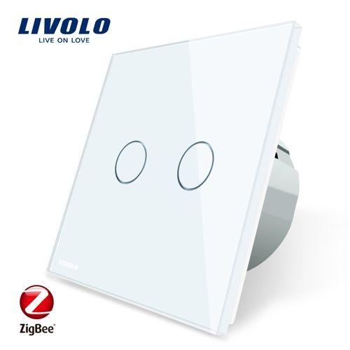 Intrerupator dublu cu touch, alb, Wi-Fi ZigBee - Livolo VL-C702Z-11 [0]